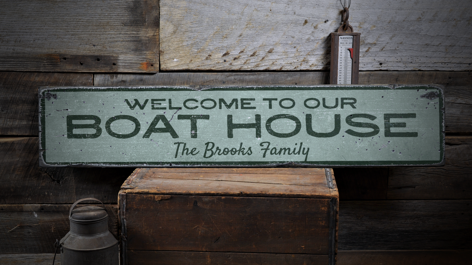 Boat House, Boat, Boat House, Boat - Rustic Distressed Wood Sign ENS1001795