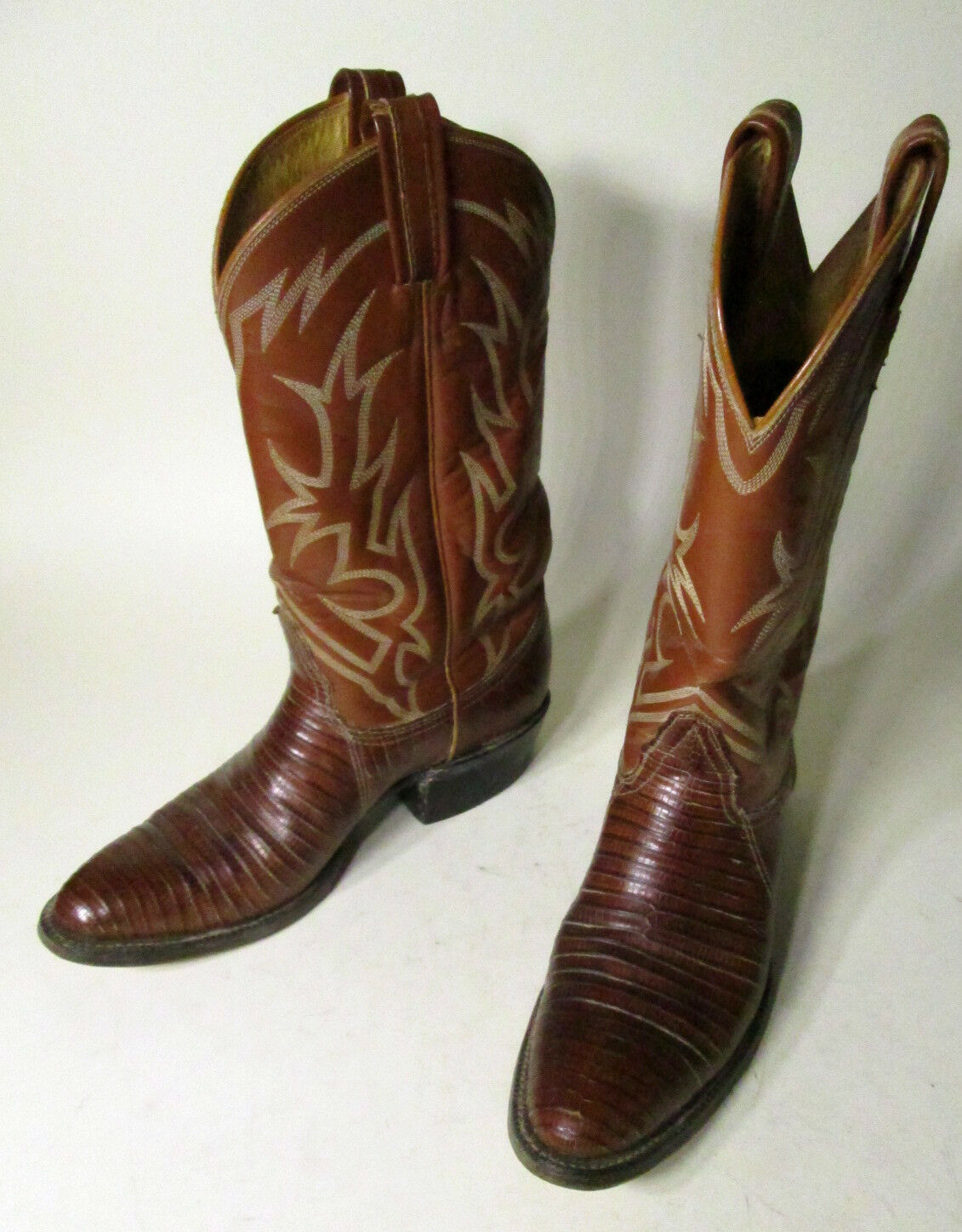 vtg EUC Tony Lama Brown black label Lizard Iguana Cowboy Boots Men's 8 B?