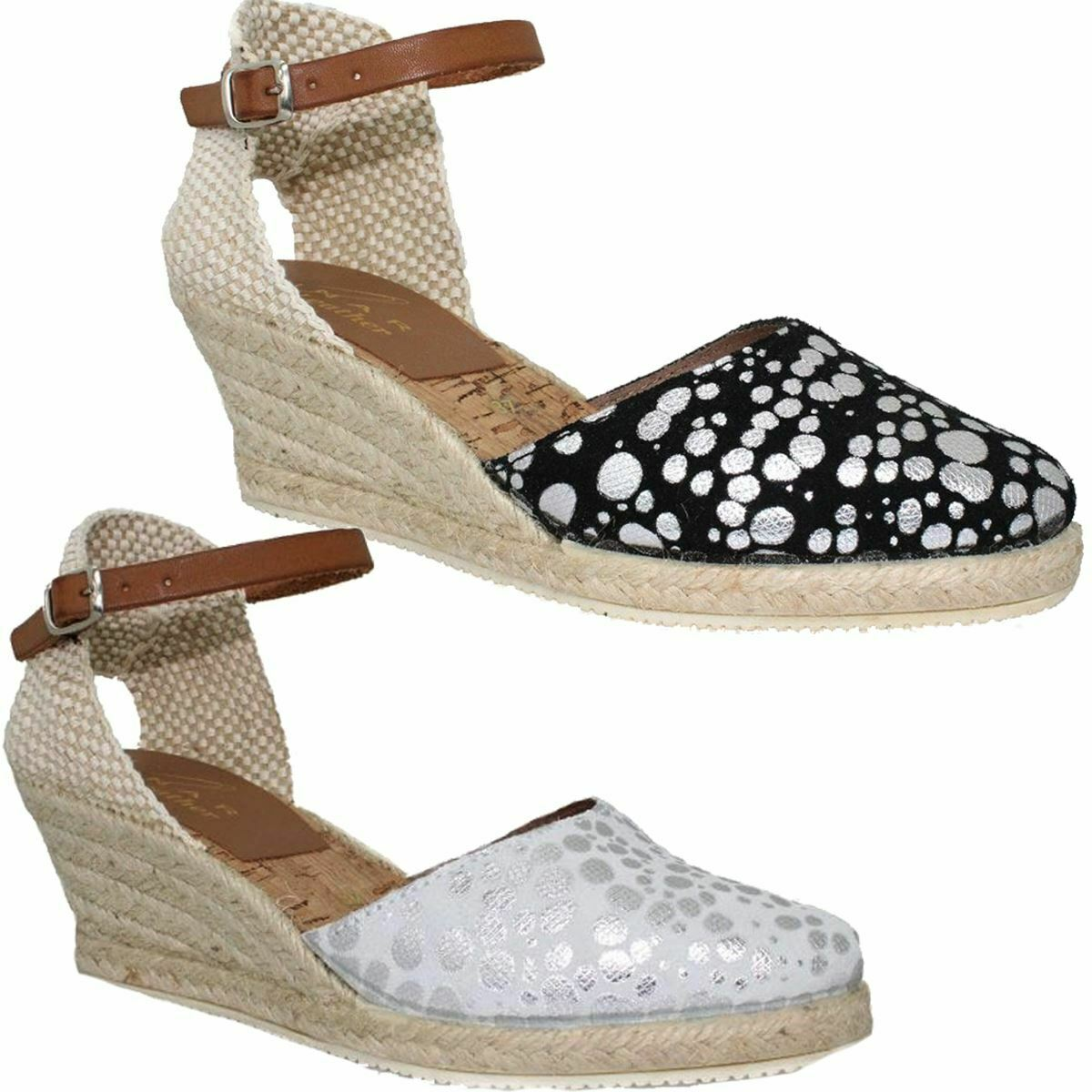 Lunar Andorra Leather Espadrille Ankle Buckle Strap Closed Toe Wedges