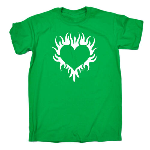 Funny Novelty T-Shirt Mens tee TShirt Flaming Heart