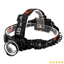 LED Headlamp Crazyfire Flashlight Zoomable 3 Modes Runners Hiking Camping Black