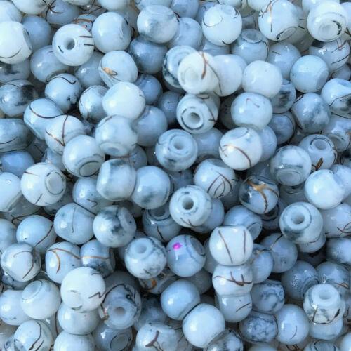 Ø 4 mm Gold-line grey-white 50 pièces Perles de Verre 49482
