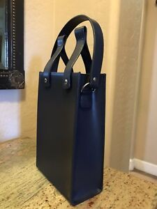 Details About Leather Wine Bag Purse Tote Navy Blue Holds 2 Bottles Nice Quality W Snaps