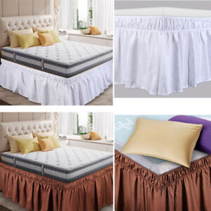 Elastic-Bed-Ruffle-Skirt-Easy-Fit-Wrap-Around-Soft-Twin-Full-Queen-King-Size-Bed
