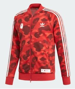 adidas x bape track jacket red