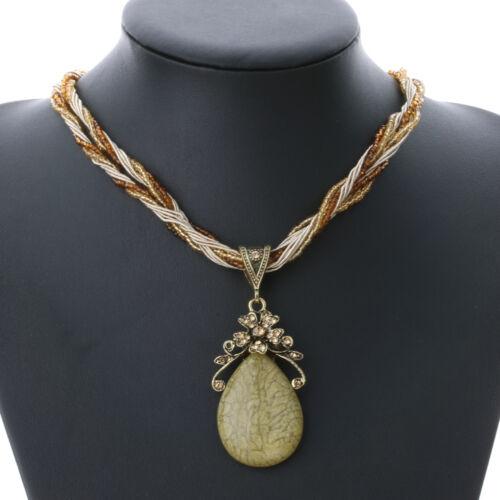 Trendy Women/'s Rhinestone Retro Stone Pendant Choker Necklace Jewelry Gift