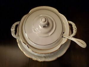"""WALBRZYCH Covered Soup Tureen White W/ Gold Trim Ladel and Underplate 12 1/4"""""""