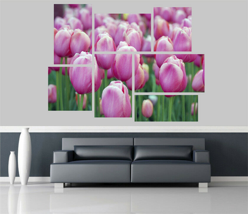 Pink Tulips in Bloom Flowers Removable Self Adhesive Wall Picture Poster 1230