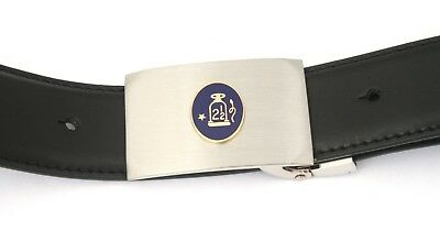 Zielsetzung Oval 2 1/2 Belt And Buckle Set Black Leather Ideal Masonic Gift