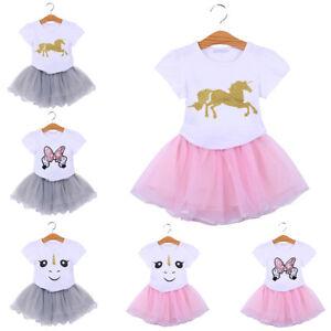 435e7190c638 2Pcs Kids Baby Girl Cartoon Unicorn T-shirt Top + Tutu Skirt Outfit ...
