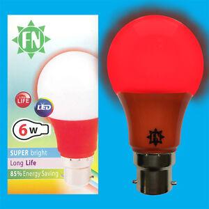 6x-6w-LED-Rot-Farbig-GLS-a60-Gluehbirne-Lampe-BC-b22-Niedrig-Energie-110-265v