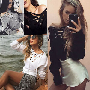 Fashion-Women-Lace-Up-Long-Sleeve-Sweater-Casual-Pullover-Jumper-Top-Sweatshirt
