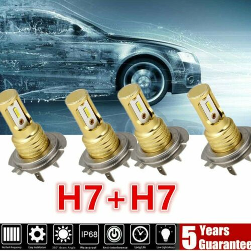 Mini H7 H7 Combo LED Headlight Kit Bulbs High Low Beam 240W 52000LM 6000K Kit