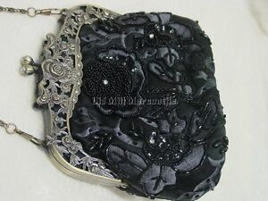 Victorian Edwardian Downton Abbey Antique vintage style black beaded handbag