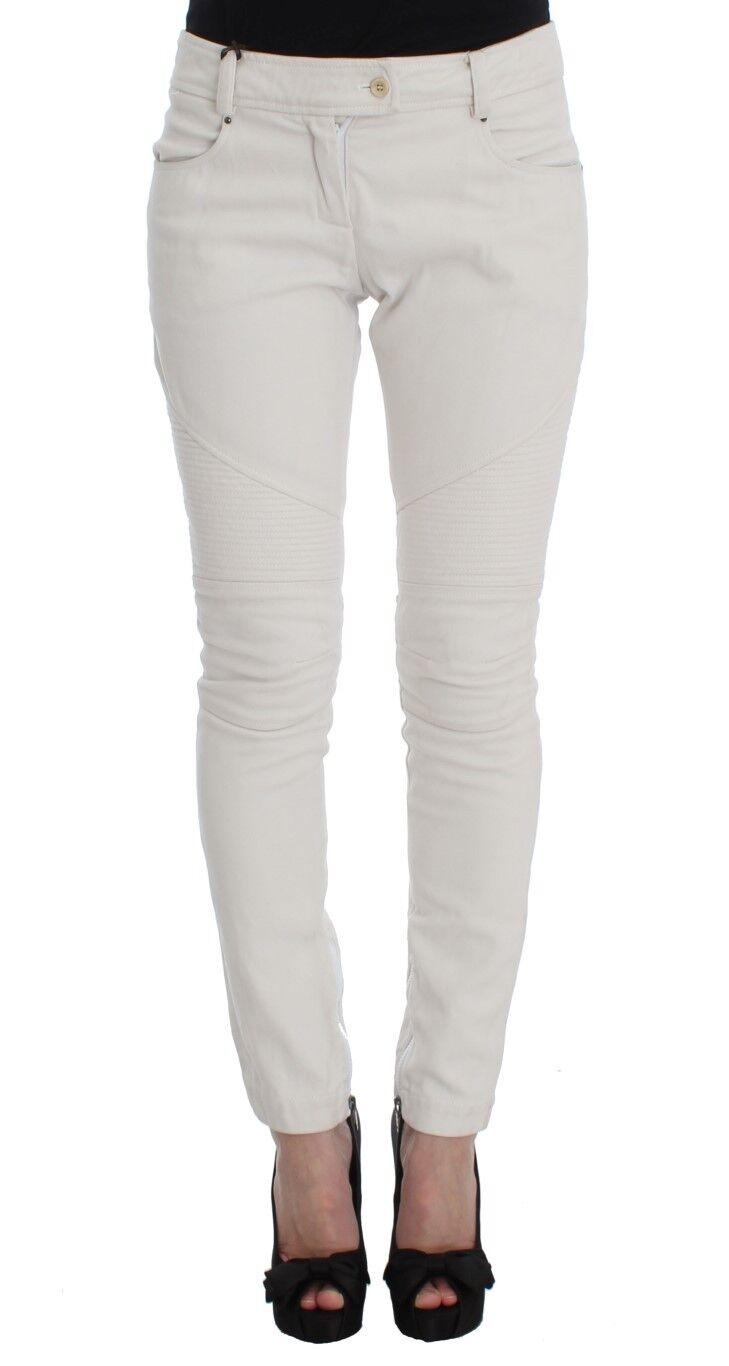 NEW ERMANNO SCERVINO Pants Jeans Beige Cotton Slim Fit Denim s. IT40 US6 s