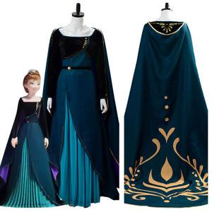 Frozen 2 Queen Anna Dark Green Coronation Dress Cosplay ...