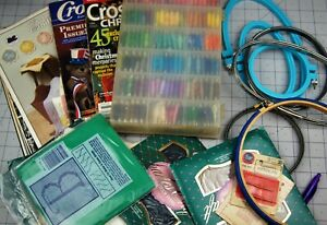Lot-of-Cross-Stich-Supplies-Books-Floss-Hoops-Patterns-Aida-Cloth-You-Pick-Med
