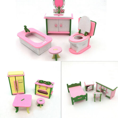 Doll House Miniature Bedroom Wooden Furniture Sets Kids Role Pretend Play Toy S*