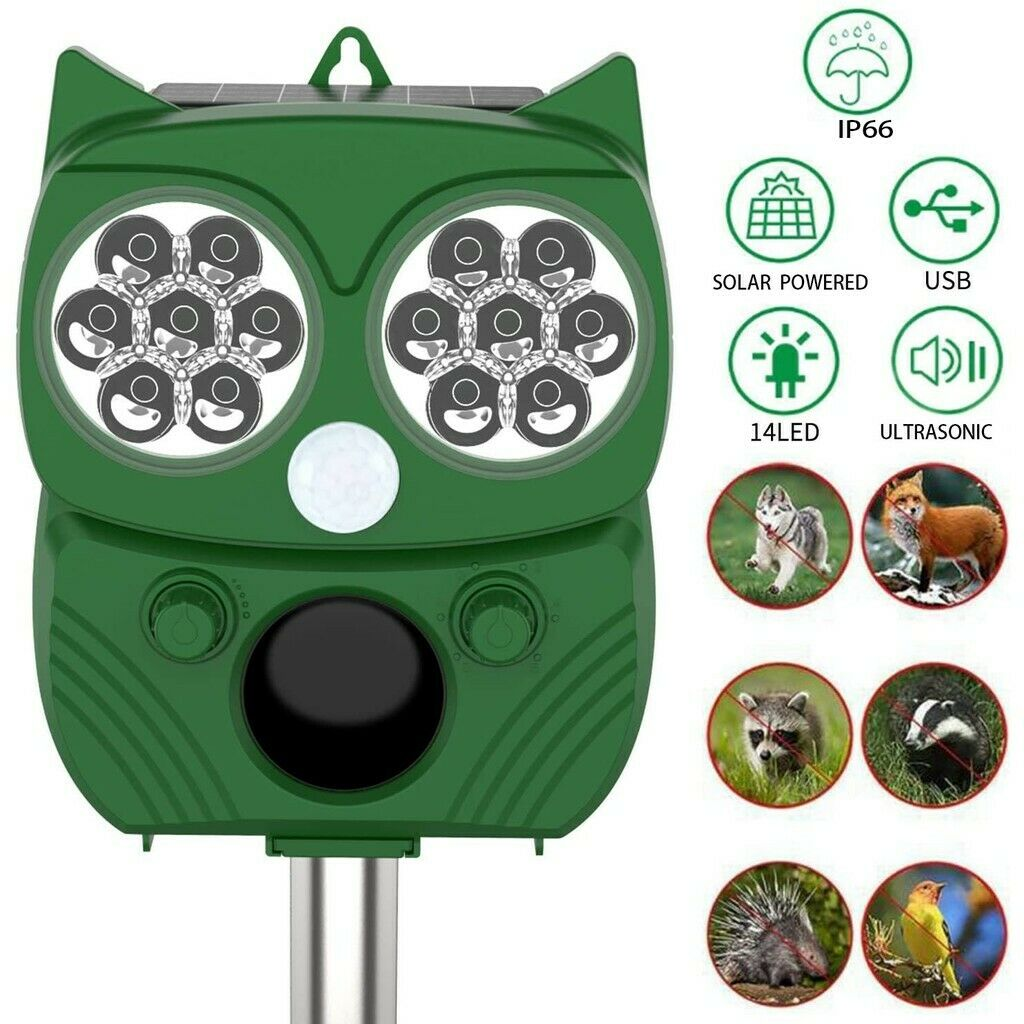Solar Ultrasonic Animal Repeller Animal Repellent Cat Dog Ra