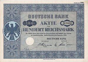 Lot 10 x Deutsche Bank Berlin Düsseldorf ungelochte historische Aktien 1952