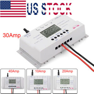 Details about 10/20/30/40 Amp Solar Charge Controller MPPT 12/24V  Three-time Timer with USB UP