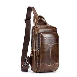 47982ec24f Men s Genuine Leather Sling Bags Chest Shoulder Bag Crossbody ...