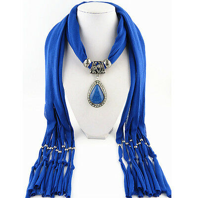 Soft Tassel Beads Water Drop Pendant Necklace Bohemian Wrap Shawl Scarf WZ