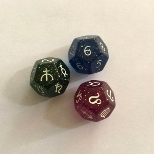 3PCS 12-SIDED ASTROLOGY DICE ACRYLIC NUMBER DIVINATION MAGIC BOARD GAME Amazing