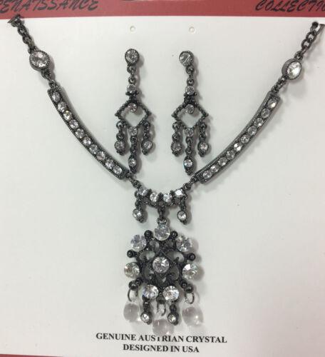 Genuine Austrian Crystal Clear Teardrop GunMetal Necklace /& Earring Set NEW AC8