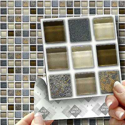 18 Glass Stone Stick On Self Adhesive Wall Tile Stickers For Kitchen & Bathroom