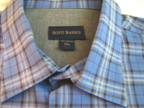 Scott Barber Mens XXL Button Front Shirt 2XL Casual Plaid Blue Gray or Brown