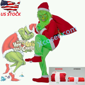 The Grinch That Stole Christmas.Details About Santa Grinch Cosplay Costume How The Grinch Stole Christmas Mask Halloween 1 Set
