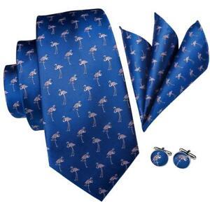 Men-039-s-Tie-Blue-Novelty-Flamingo-Silk-Necktie-Cufflinks-Hanky-Set-for-Wedding