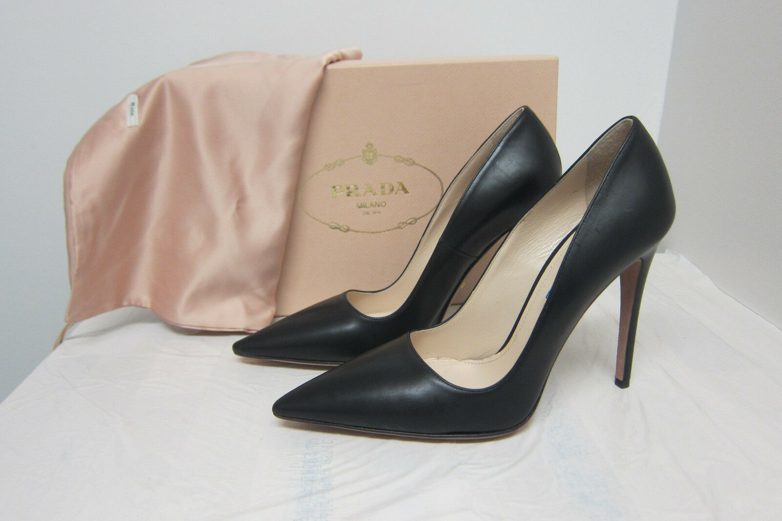 PRADA cuir point-toe escarpins taille  40 10 Couleur Couleur Couleur  Noir Original   650.00 20f7cd