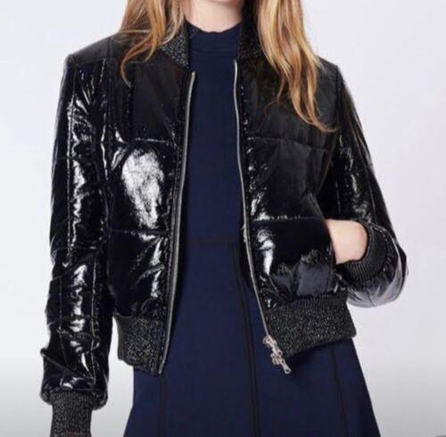 Veronica Beard Puffer Coat Black Shiny Patent leat