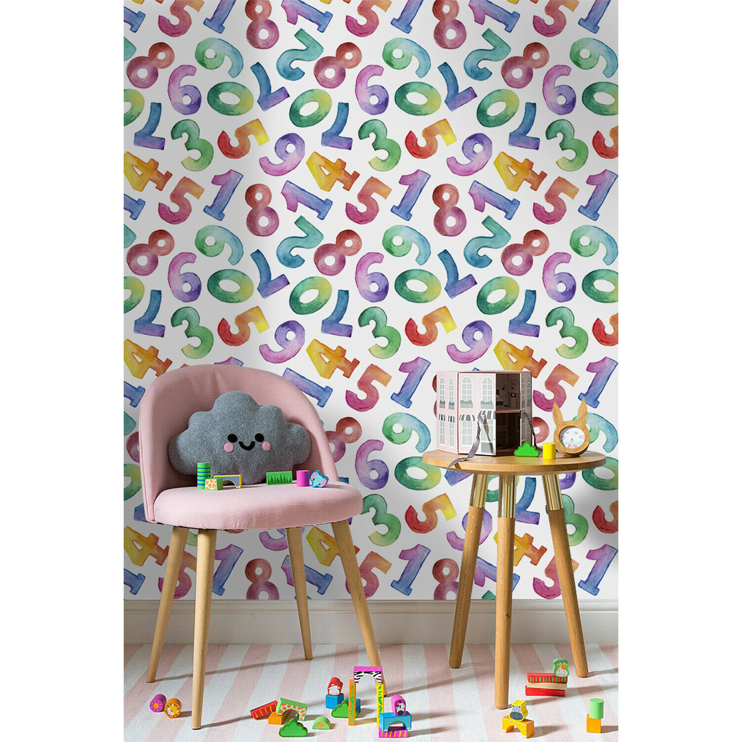 Removable Wallpaper adhesive Farbeful numbers WaterFarbe for kids room mural