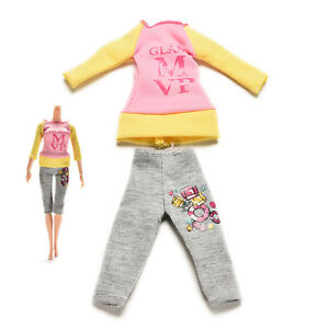 2-Pcs-set-Fashion-Dolls-Clothes-for-Dress-Pants-with-Magic-Pasting-ATAU