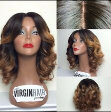 8A Short Glueless Brazillian Ombre 1b/33 Lace Front Human Hair Wig 12inches