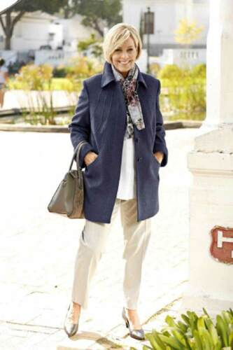 Damen Winterjacke Wolljacke Jacke mit Kaschmir blau NEU /& OVP Mantel Warm jeans