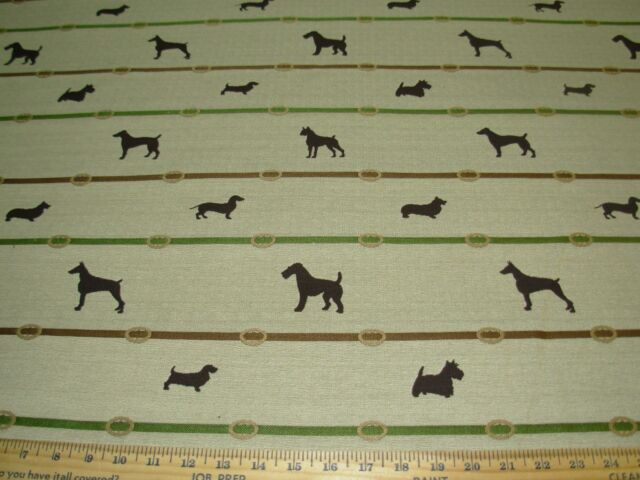 "~3 2/8 YDS~""DOGS VARIOUS""~WOVEN PT EMBROIDERED UPHOLSTERY FABRIC FOR LESS~"