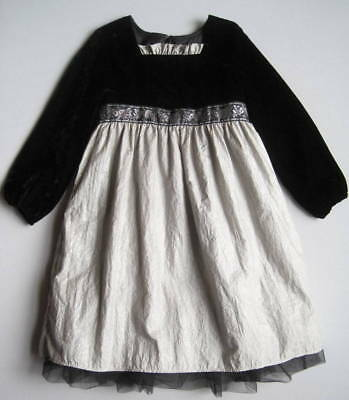 HANNA ANDERSSON Girls 110 4 5 6 Lucky Stars Dress Black Silver Holiday Party