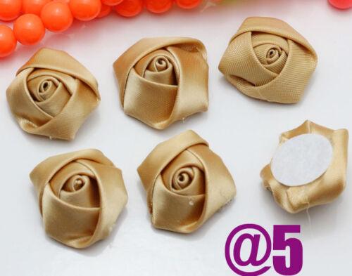 25 Colors DIY 20//50//100PCS Satin Ribbon Rose Flower DIY Craft Wedding Appliques