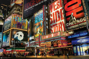 TIMES SQUARE THEATER DISTRICT POSTER - 24x36 SHRINK WRAPPED - ART BROADWAY 9510