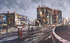 Vintage CITYSCAPE Painting-Palette Knife-MODERN Art Artwork-Framed Signed-Oil