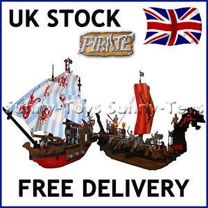 X2-geant-pirate-ships-bateaux-Caraibes-embuscade-building-brick-Education-Compatible