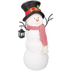 Pupazzo-di-neve-in-Poliresina-Altezza-65cm-con-Lanterna-4-LED-Decorazione-Natale