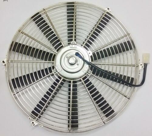 "16/"" Street Rod Radiator Electric Chrome Cooling Fan 2500 CFM Straight Blade"