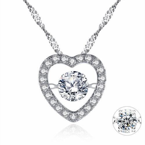 "Dancing Gemstone 925 solide Argent sterling zircon cubique collier pendentif 18/"""
