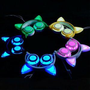 LED-Foldable-Headphones-W-Mic-Wireless-Bluetooth-Stereo-Gaming-Headset-Cat-Ear