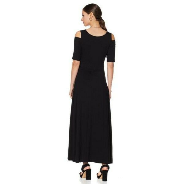 0741466b0e2b94 ... Liz Lange Brown Stretch Stretch Stretch Knit Cold Shoulder Maxi Dress  P2X New 524-421